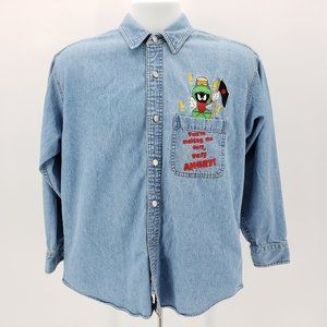 Marvin the Martian Looney Tunes Denim Button Shirt